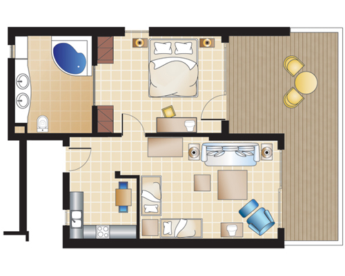 Deluxe Bungalow Suite with Kitchenette Floorplan